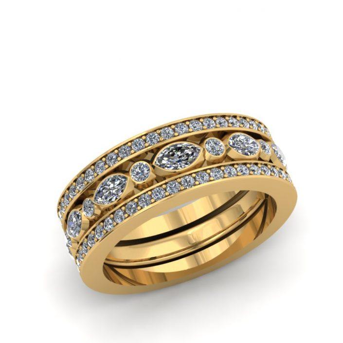 MARQUIS AND ROUND DIAMOND CUSTOM FASHION RING