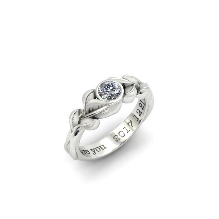 BEZEL SET DIAMOND LEAF ENGAGEMENT RING