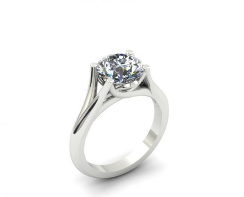 SPLIT SHANK CUSTOM DIAMOND SOLITAIRE ENGAGEMENT RING