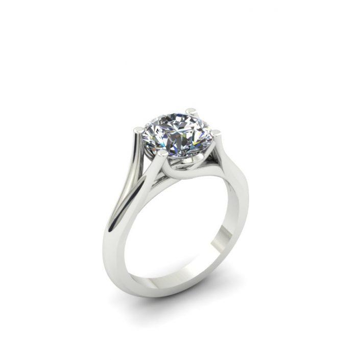 SPLIT SHANK CUSTOM DIAMOND SOLITAIRE ENGAGEMENT RING