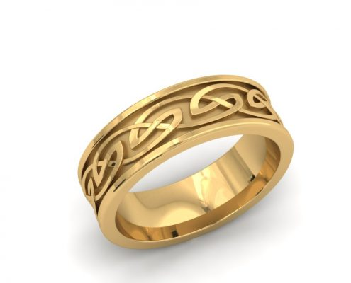 GENTS CELTIC YELLOW GOLD CUSTOM BAND