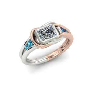 SQUARE KNOT TWO TONE CUSTOM ENGAGEMENT RING