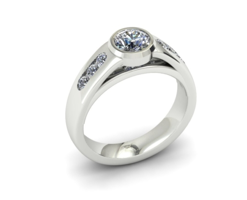 WIDE BEZEL SET CUSTOM ENGAGEMENT RING