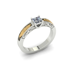 TWO TONE FEATHER AND SWIRL PRINCESS CUT CUSTOM ENGAGEMENT RING