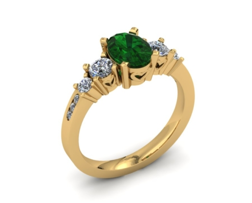 ALTERNATIVE BRIDAL EMERALD CUSTOM ENGAGEMENT RING
