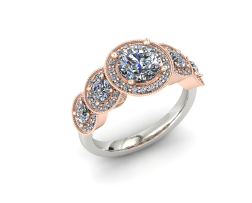 FIVE STONE HALO CUSTOM ENGAGEMENT RING