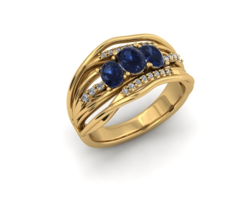 SAPPHIRE AND DIAMOND CROSSOVER RING